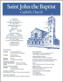 Weekly Parish Bulletin | St. John the Baptist Catholic Church: https://stjohnthebaptiststl.wordpress.com/our-parish/bulletins